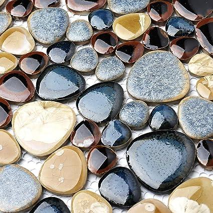 Amazon.com: Glazed Blue Mosaic Ceramic Pebble Porcelain Tile ...