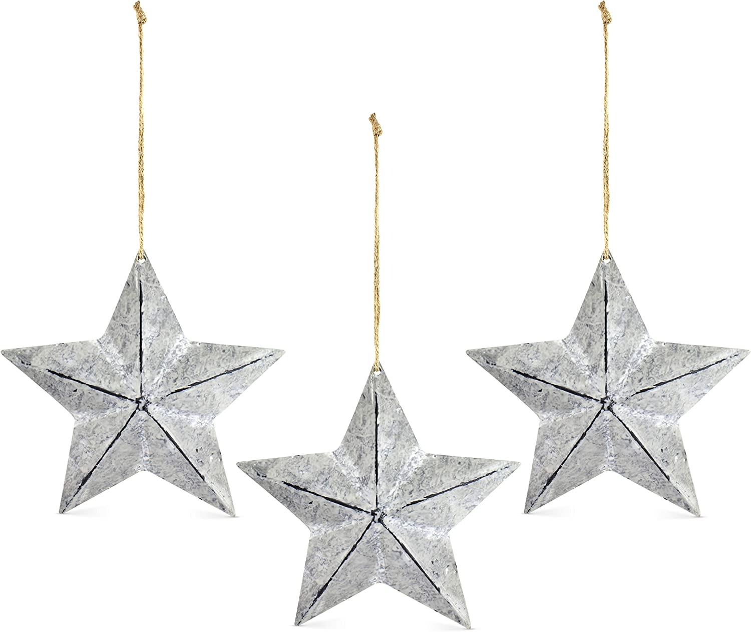 AuldHome Rustic Galvanized Star Ornaments (3-Pack); Distressed Star-Shaped Christmas Ornaments Suitable for Large Christmas Trees and Wreaths, Large 7.5 Inch Diameter