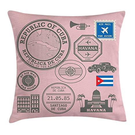 Funda de cojín Havana Throw Pillow, República de Cuba, sello ...