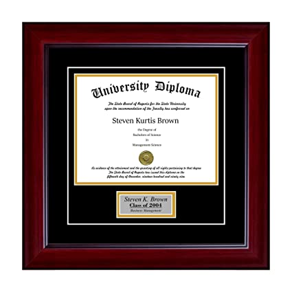 amazon com personalized single diploma frame with double matting