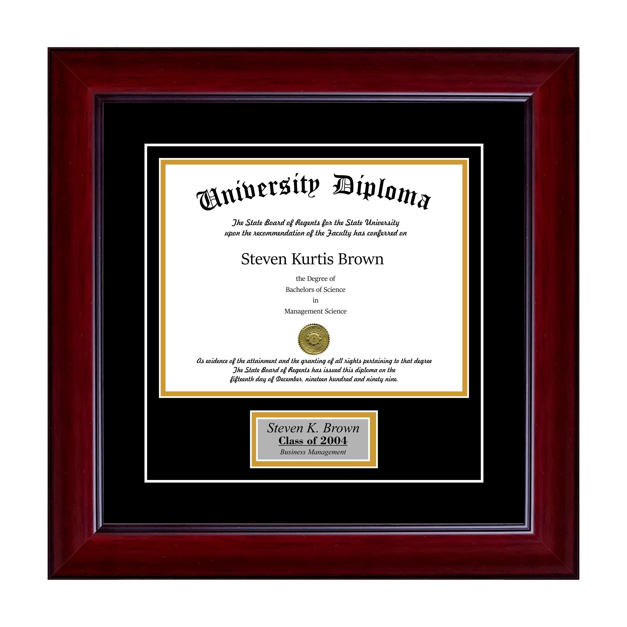 Personalized Single Diploma Frame with Double Matting for 10'' x 8'' Tall Diploma with Mahogany 2'' Frame