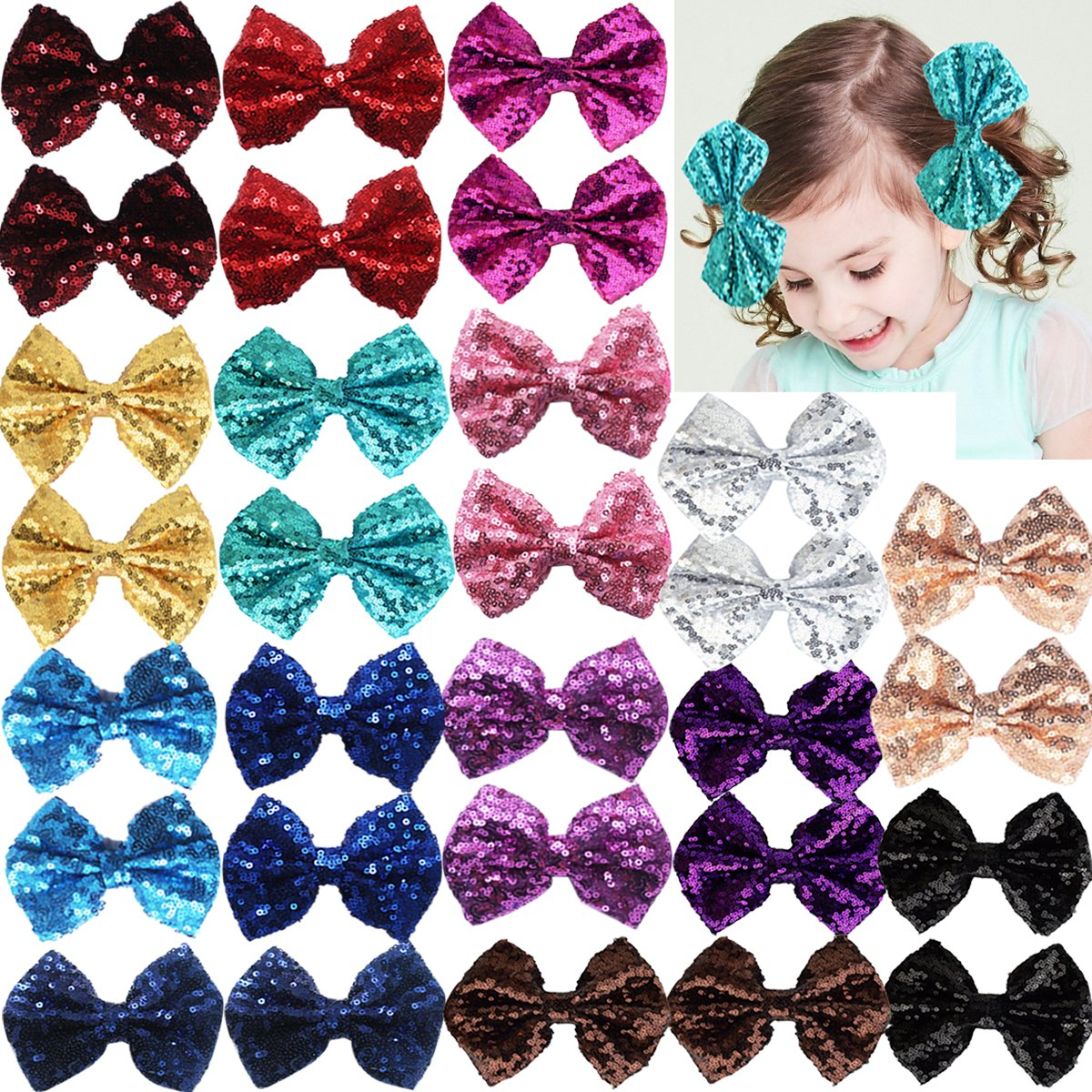 Party Hair Bows Clips for Girls-15pcs Bling Sparkly Glitter Sequins Big 4 Hair Bows Alligator Hair Clips-Nylon Mesh Ribbon Bowknot Hairpins for Baby Girls Kids Children CELLOT