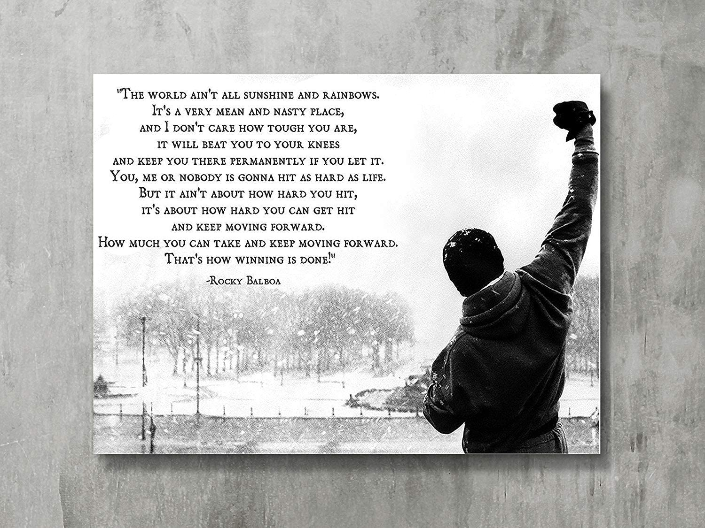 FAYFA Dawn Sky Rocky Balboa - Motivational Quotes Art Poster Print Hope Qoute,18x24 inch
