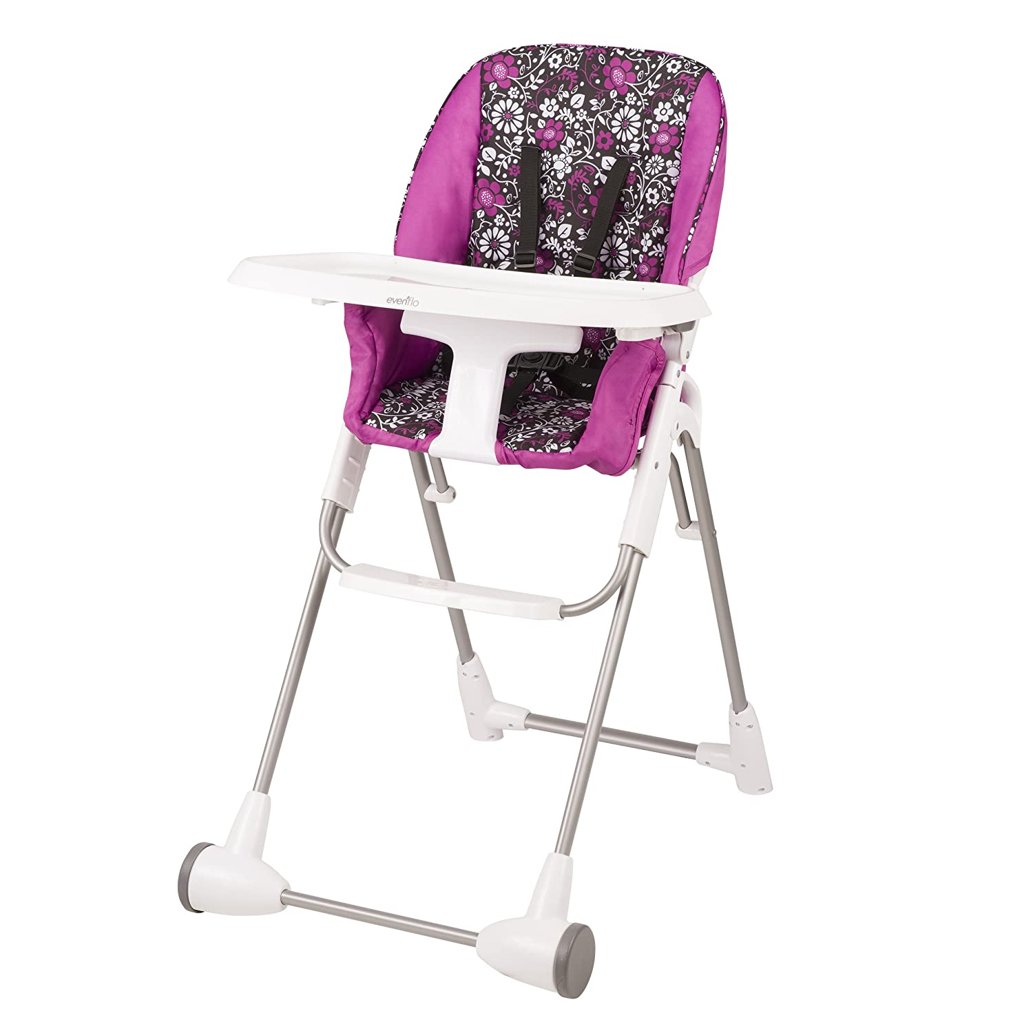 Pink, Black, White Evenflo Symmetry High Chair, Daphne