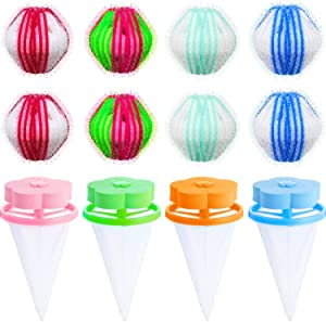 8 Pieces Hair Dryer Ball Lint Hair Remover Magic Laundry Ball and 4 Pieces Reusable Hair Filter Net Lint Mesh Bag Dryer Hair Removers for Washing Machine, 2 Kinds of Tools