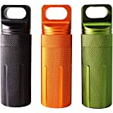 PPFISH Military Grade Air-Tight EDC Accessory Case, Waterproof Pill Fob Capsule/Match Case Battery Holder Case, Outdoor…