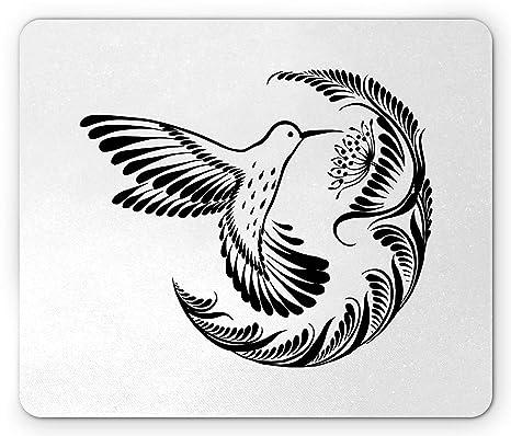 Alfombrilla De Ratón Negra Y Blanca De Monochrome Hummingbird Tattoo