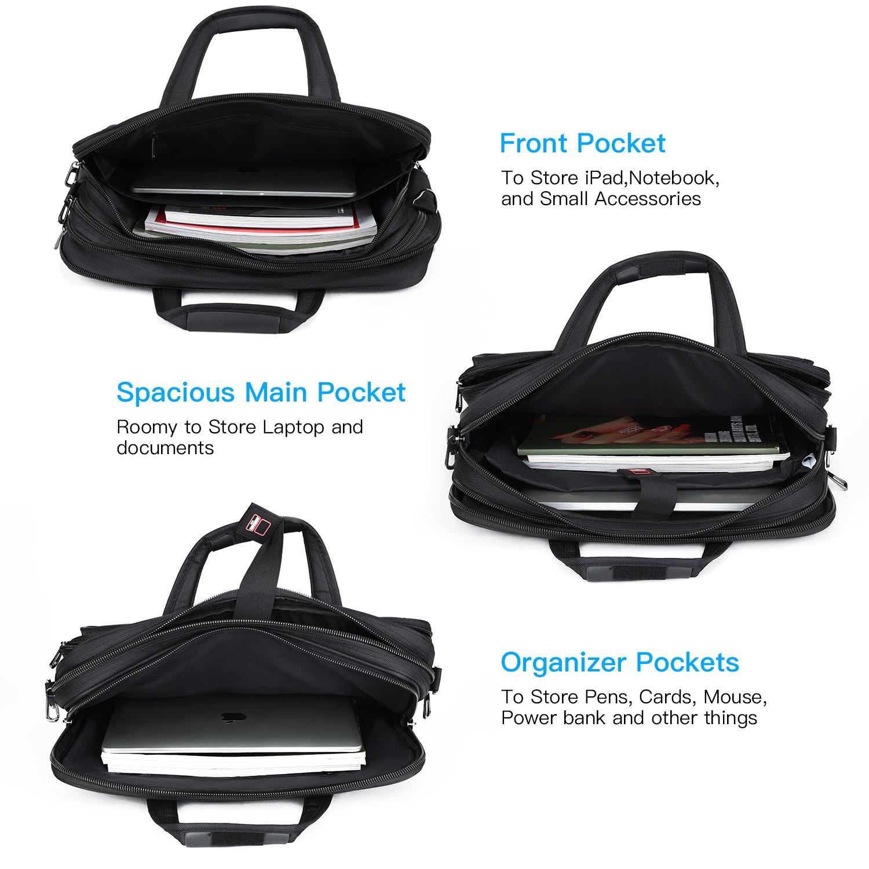 15.6 inch Laptop Briefcase, Expandable Large Shoulder Bag with Adjustable Shoulder Strap for Business Travel College Office Multi-function Shockproof Case Waterproof Messenger Handbag by Welist (Image #2)