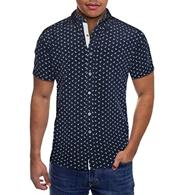47827125 Mens Slim Fit Short Sleeve Button Down Polo Oxford Shirt MST46568 ANS  Blue/Multi S