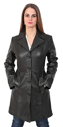 6ea76685f2e Ladies Fitted 3/4 Length Real Leather Jacket Womens Classic Mac Coat  Cynthia Black