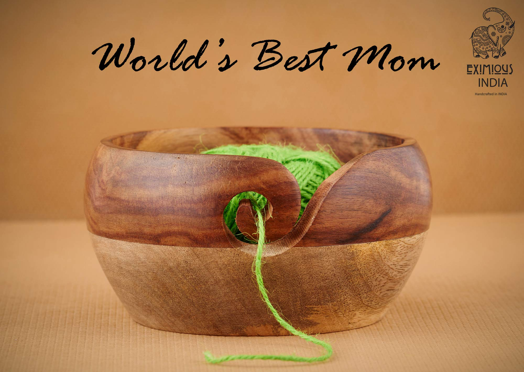 Mother's Day Special Wooden Yarn Bowl for Knitting and Crochet, Large Size 6'' X 3'' Durable and Portable Yarn Storage for Knitters- Beautiful Gift for Mom, Grandmother
