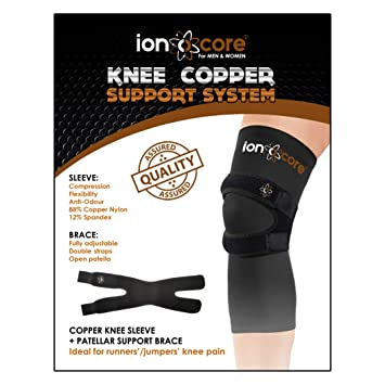 d80f7e09d0 ionocore® Knee Support Copper Compression System with patellar Knee Brace  Strap and Knee Sleeve.