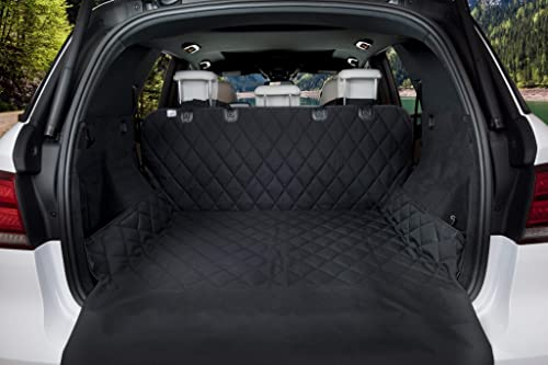 BarksBar Luxury Pet Cargo Cover Liner For Dogs – 80 x 52 Black, Quilted Waterproof Machine Washable Nonslip Backing With Bumper Flap Protection- For Cars, Trucks SUVs