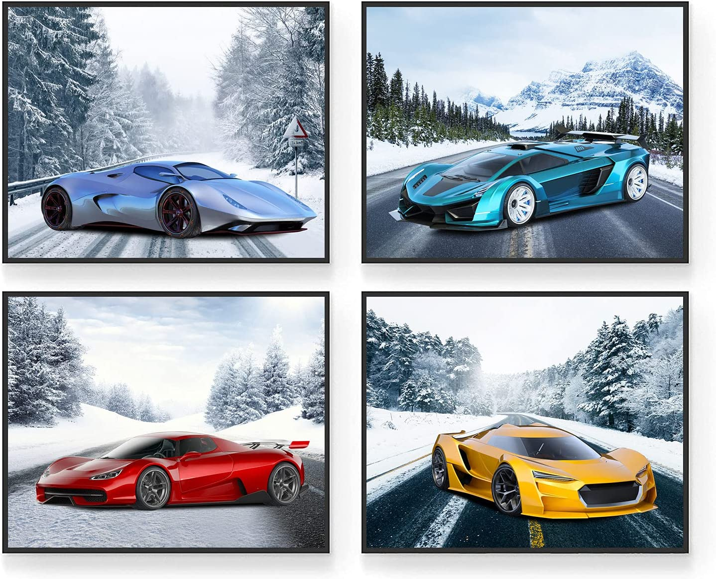 Car Poster - Car Posters for Boys Room - Set of 4 (10
