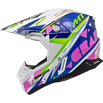 MT Synchrony Crazy Motocross Helmet XXL White Blue Pink