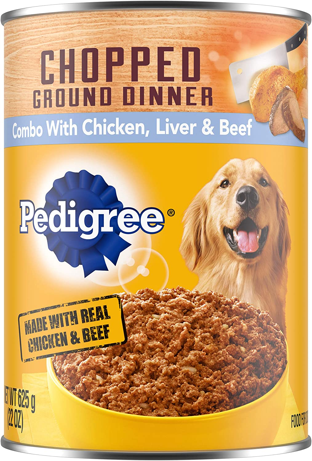 PEDIGREE Adult Canned Wet Dog Food Chopped Ground Dinner Combo with Chicken, Beef & Liver Flavor, (12) 22 oz. Cans