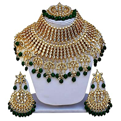 74013f75004 Image Unavailable. Image not available for. Colour  Gemsjewellery Green  Kundan Gold Plated Heavy Bridal Jewellery Set For Women   Girls