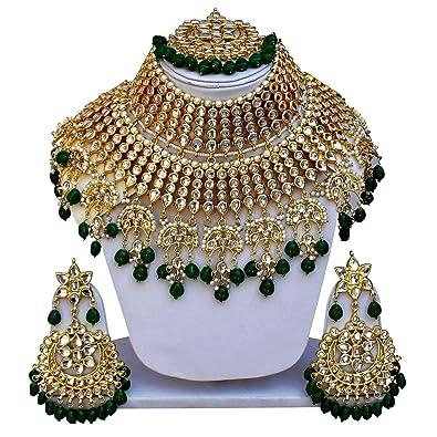 5527daed5173 Buy Gemsjewellery Green Kundan Gold Plated Heavy Bridal Jewellery ...