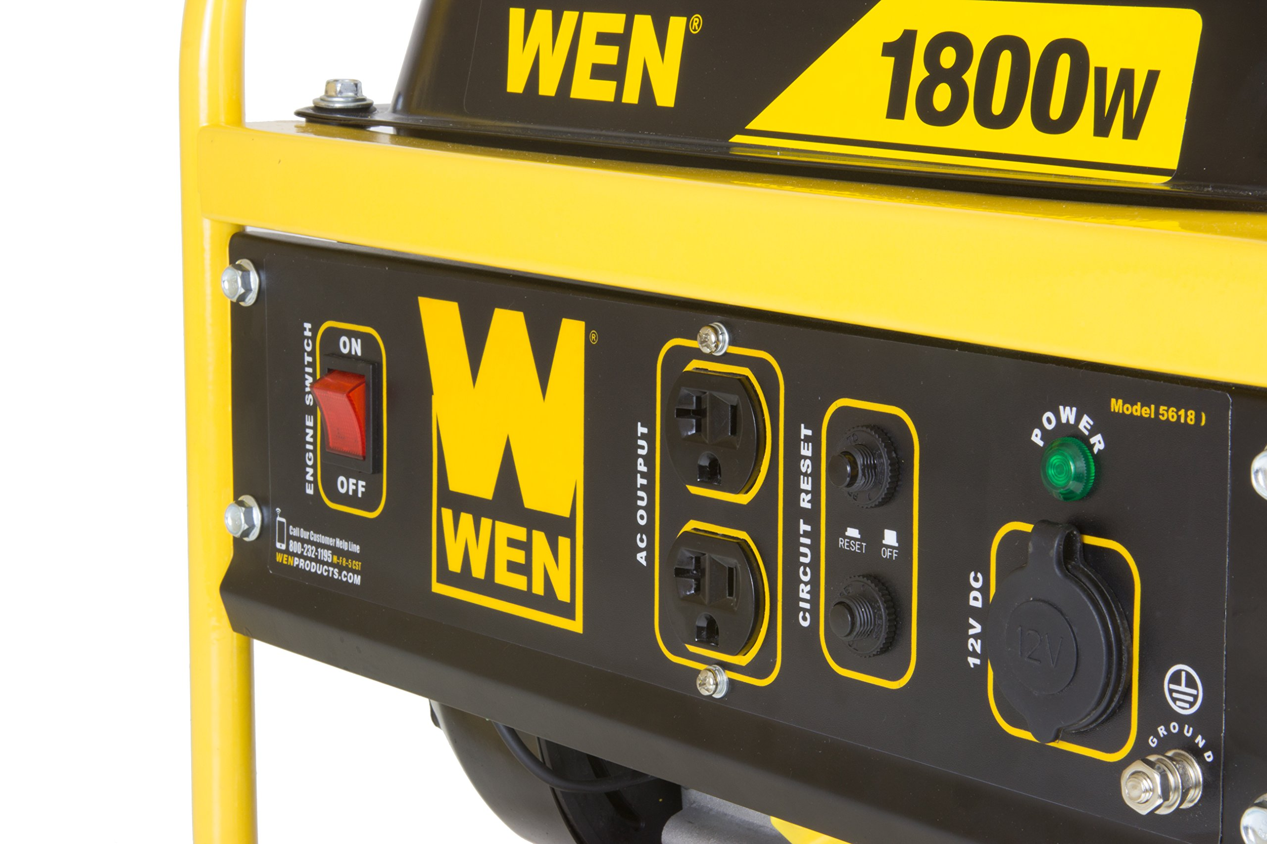 WEN 56180, 1500 Running Watts/1800 Starting Watts, Gas Powered Portable Generator, CARB Compliant by WEN (Image #2)