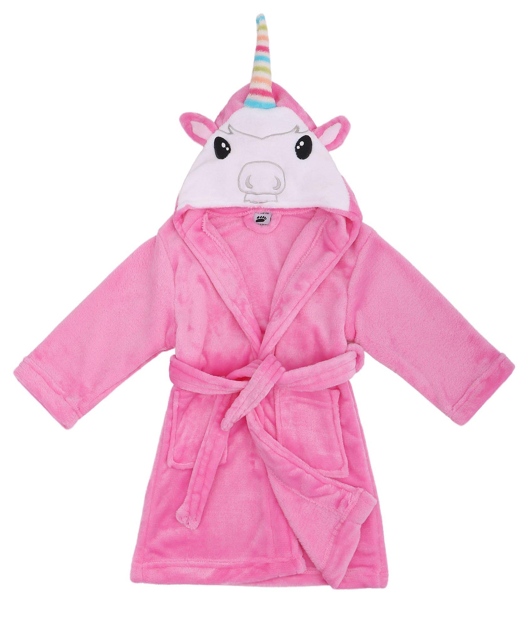 Kids Robe Animal Plush Soft Hooded Terry Bathrobe,Unicorn Pink,S(1-3 Years)