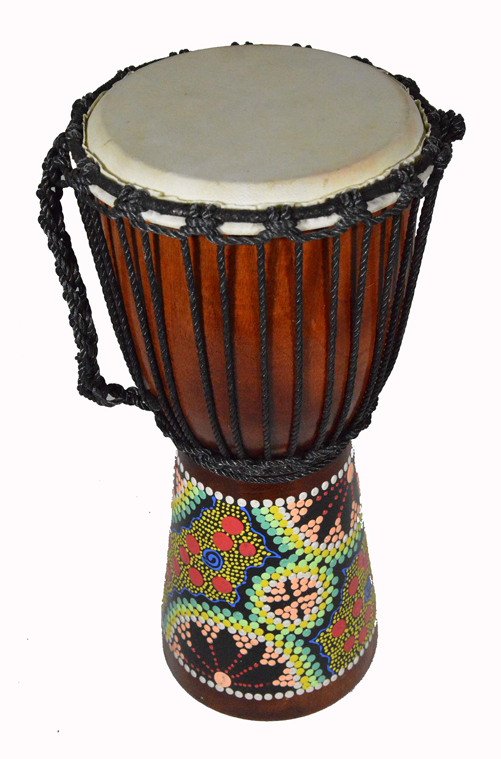 15'' DJEMBE DRUM BONGO HAND CARVED AFRICAN ABORIGINAL DOT ART DESIGN close out clearance