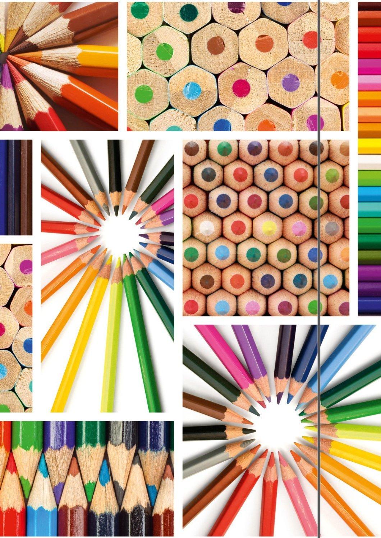 Cartellina da disegno, formato A3, motivo: matite colorate RNK Verlag 4544