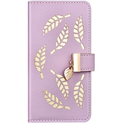 IKASEFU Compatible with iphone 6 Plus/6S Plus Case Soft Pu Leather Glitter Hollow out Leaf Style Wallet Strap Case Card Slots Shockproof Magnetic Flip Stand Protective Bumper Cover Case Purple: Musical Instruments