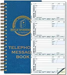 Rediform Gold Standard Telephone Message Book, 2.75 x 5 inches, 4 per Page, 600 Messages (50079),White/Yellow
