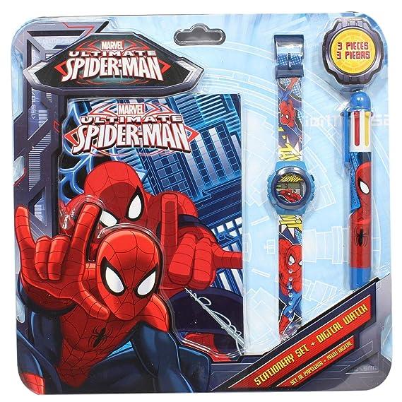 Marvel - Reloj infantil, diseño de Spider-Man, incluye bolígrafo y cuaderno: Amazon.es: Relojes