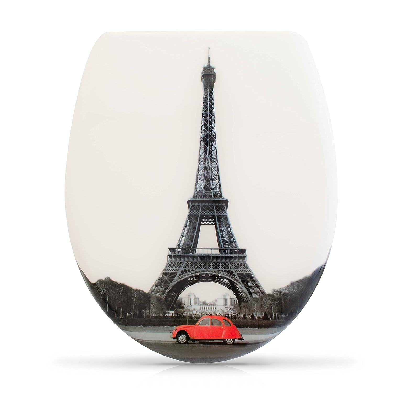 Abattant de WC avec fermeture amortie Couvercle de toilette avec motif et kit de montage Mod/èle Tour Eiffel
