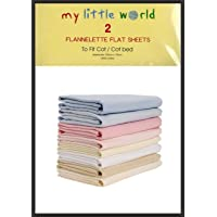 2 x Junior Joy Baby Pram Flannelette Sheets 100/% Soft Cotton Pack White