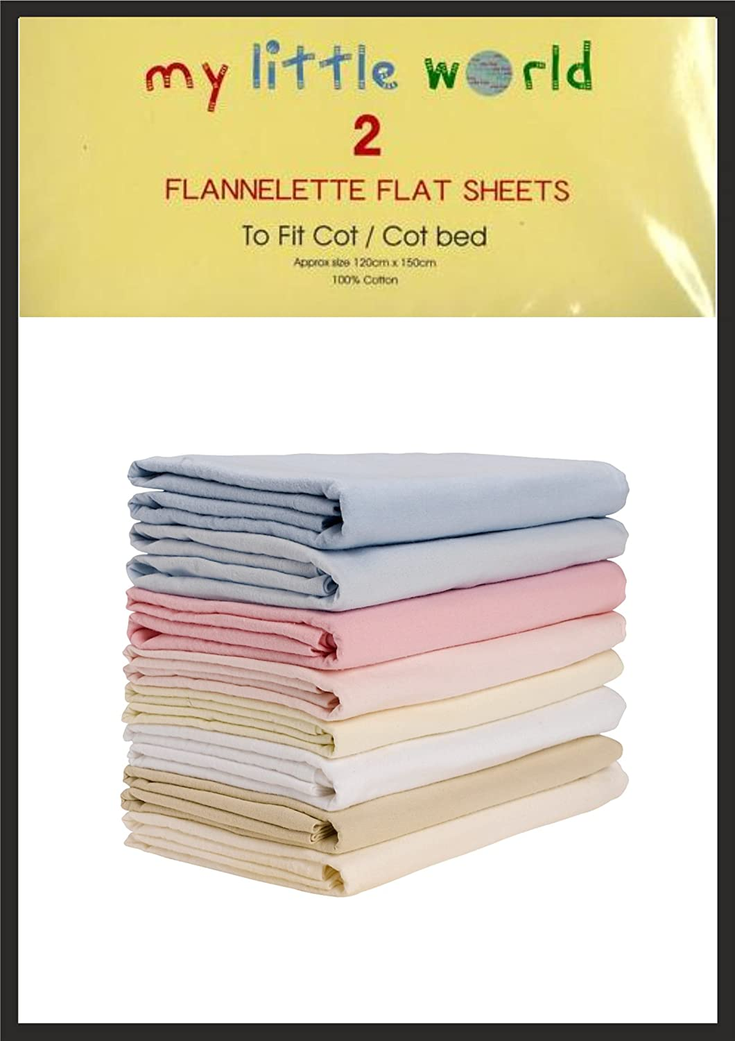 Cot / Cot Bed White Flannelette Flat Sheets Baby Nursery Bedding Soft Touch Pack of 2 100% Cotton My Little World 5029497700250
