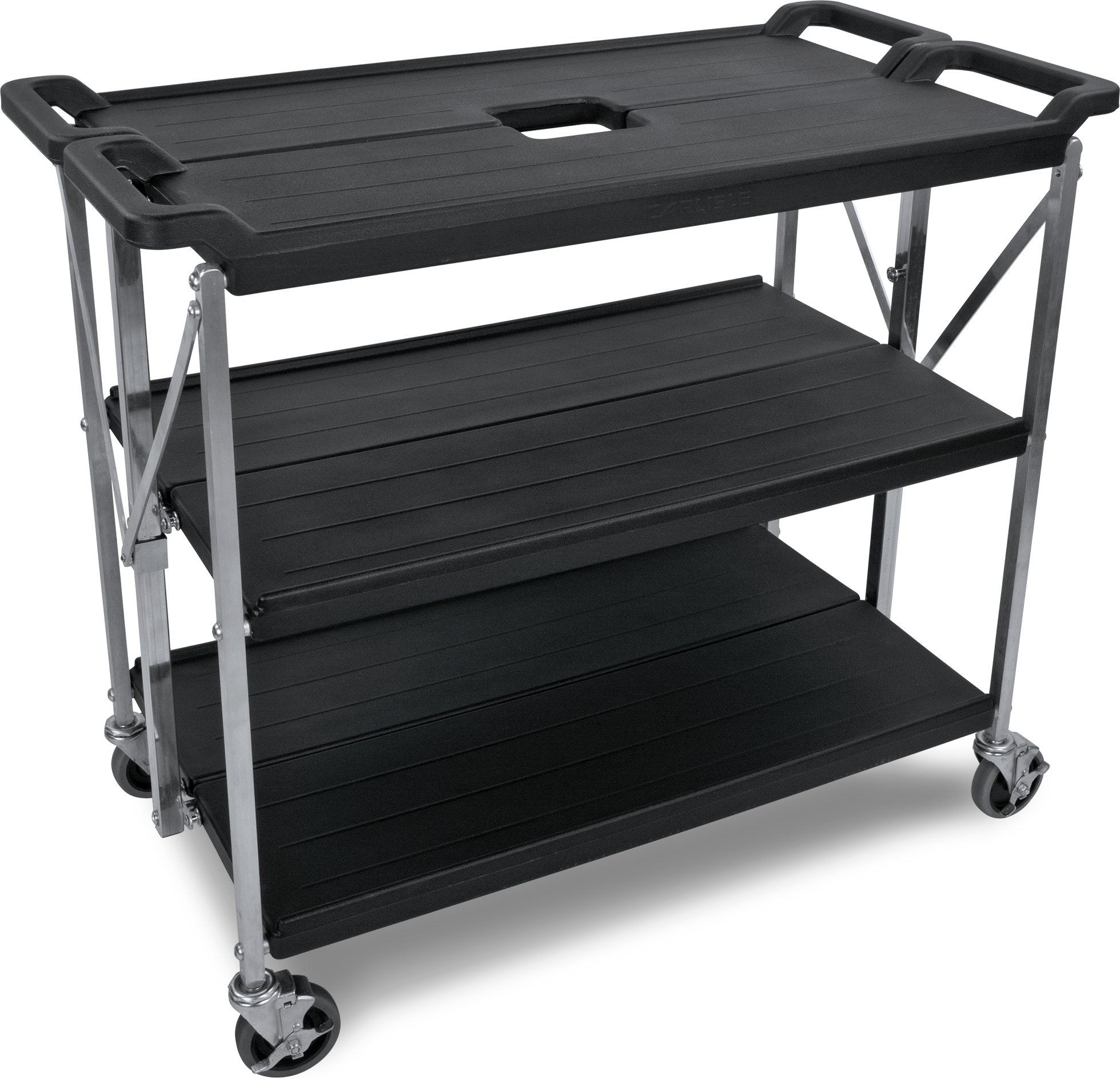 Carlisle SBC203103 Fold 'N Go Collapsible Utility Cart, 350 Pound Capacity, 31'' Length x 20'' Width Shelf, Black