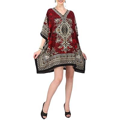 Miss Lavish Women's Midi Kaftan Oversized Kimono Beach Cover up Evening Top Red at Women's Clothing store