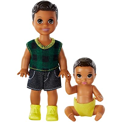 Barbie Skipper Babysitters Inc. Dolls, 2 Pack of Sibling Dolls Includes Small Toddler Doll and Baby Doll in Diaper, for 3 to 7 Year Olds​​​​: Toys & Games