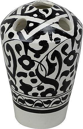 Fes/azrú 5 agujeros multicolor de cerámica pintado a mano – Soporte para cepillo de