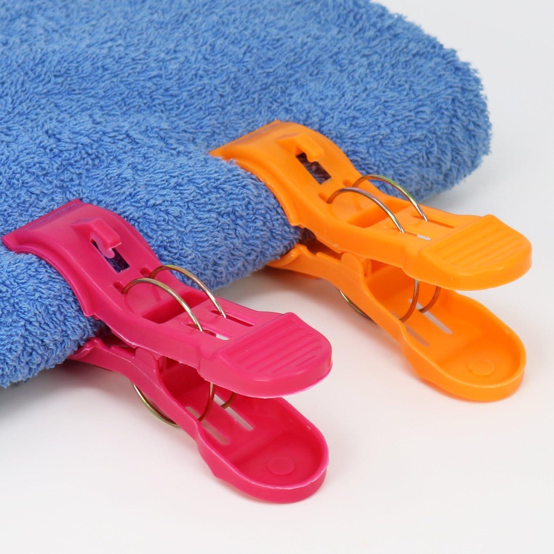 Viajar Pinzas para Toallas para Sujetar com-four/® 4X Clips de Toallas de Playa Ideal para la Playa Acampar o Hacer un Picnic 04 Piezas - Arenque//Azul