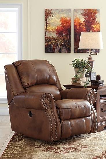 Ashley Furniture Signature Design   Walworth Recliner Chair   Manual  Reclining   Auburn Brown