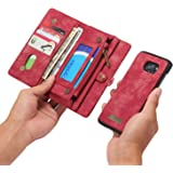 RAYTOP® [Magnetic Removable Phone Case] + [11 Card Holders] + [4 Large Pockets] PU Leather Wallet for Samsung Galaxy S7 Edge [Magnet + Zipper + Button Closure] Dark Red Color Large Capacity Premium