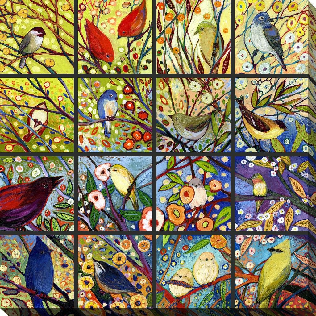 Art Jennifer Lommers Canvas Wrapped Birds Flowers Free Shpping Made in North America