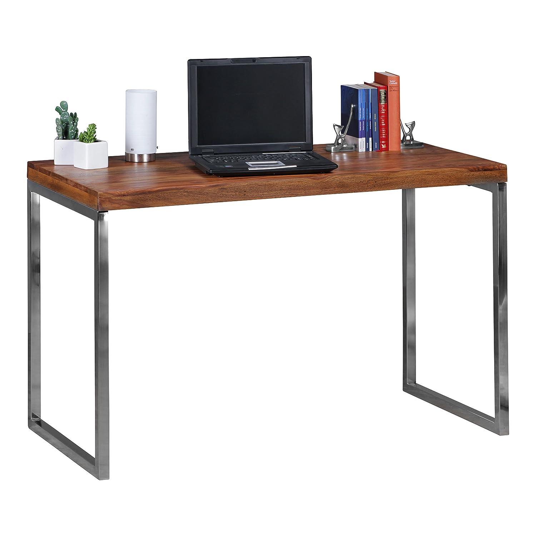 FineBuy Schreibtisch Massivholz   Computertisch 120 x 60 cm aus echtem Holz   Laptoptisch im Landhaus-Stil   Konsolen-Tisch mit Metallbeinen   Arbeitstisch dunkel-braun für Büro - Natur-Produkt