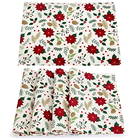 Embroidered Poinsettia Christmas Table Place Mats for Christmas Dinner Christmas Table Decorations 12 /× 18 Inch AerWo 6Pcs Christmas Holiday Placemats