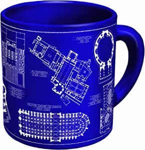 The Unemployed Philosophers Guild Architecture Coffee Mug - Architectural Drawings of Famous Buildings - from Classic to Classical - Comes in a Fun Gift Box
