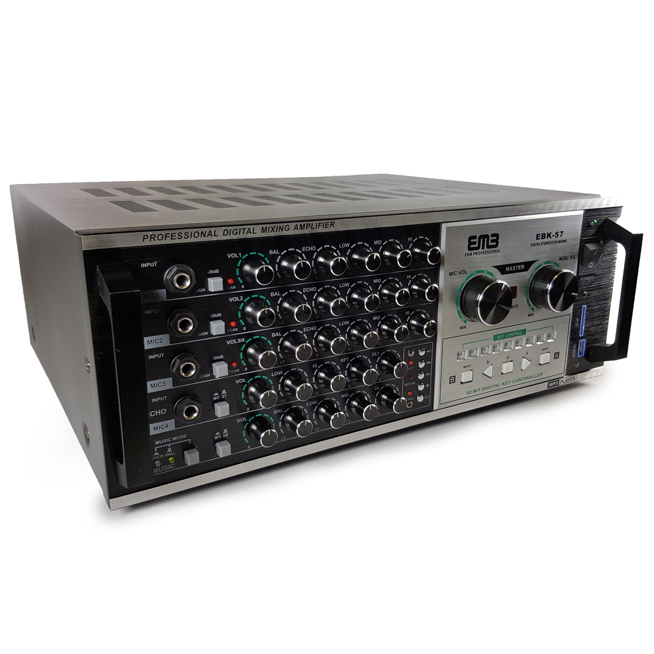 EMP Professional EBK57 1200W Karaoke Echo Power Mixing Amplifier w/Remote/USB/SD/MP3/WMA Player