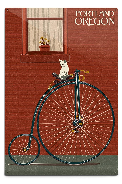 【新品】 Portland, Oregon - Bicycle and Cat Letterpress (16x24 Giclee Gallery Print, Wall Decor Travel Poster) by Lantern Press B06Y17Y3HD  12 x 18 Metal Sign 12 x 18 Metal Sign, Double Three 33ダブルスリー 3bbc088d