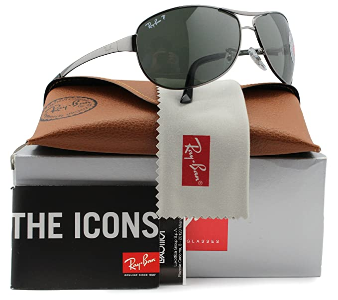 a654f4f414 Image Unavailable. Image not available for. Colour: Ray-Ban RB3342 Warrior Polarized  Sunglasses Gunmetal w/Crystal Green (004/58