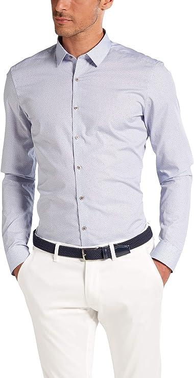 Eterna - Camisa de manga larga con cuello de color azul Azul ...