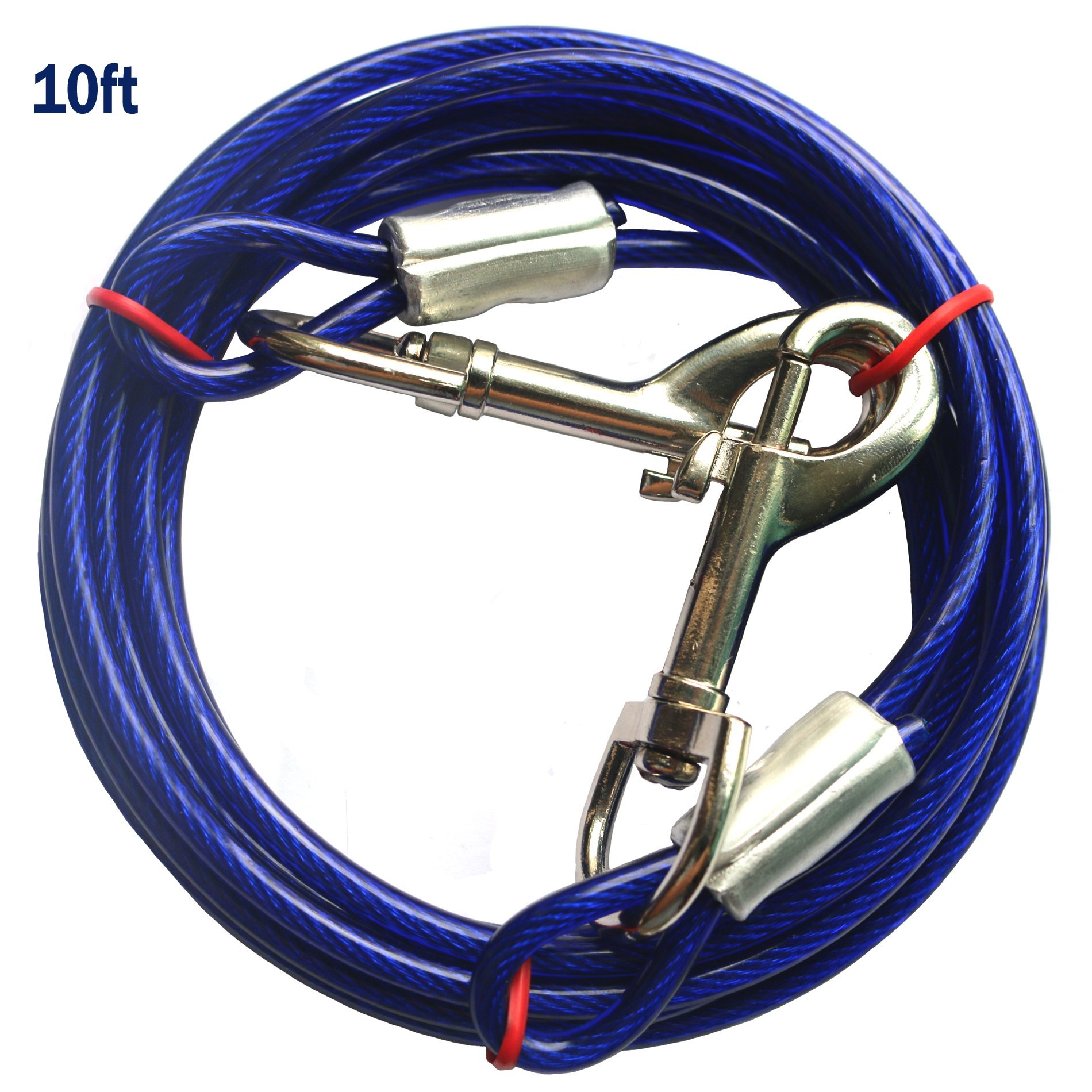 PETJOY 10ft Dog Tie Out Cable Steel Wire Rope Dual Heads Metal Hooks Pet Dogs
