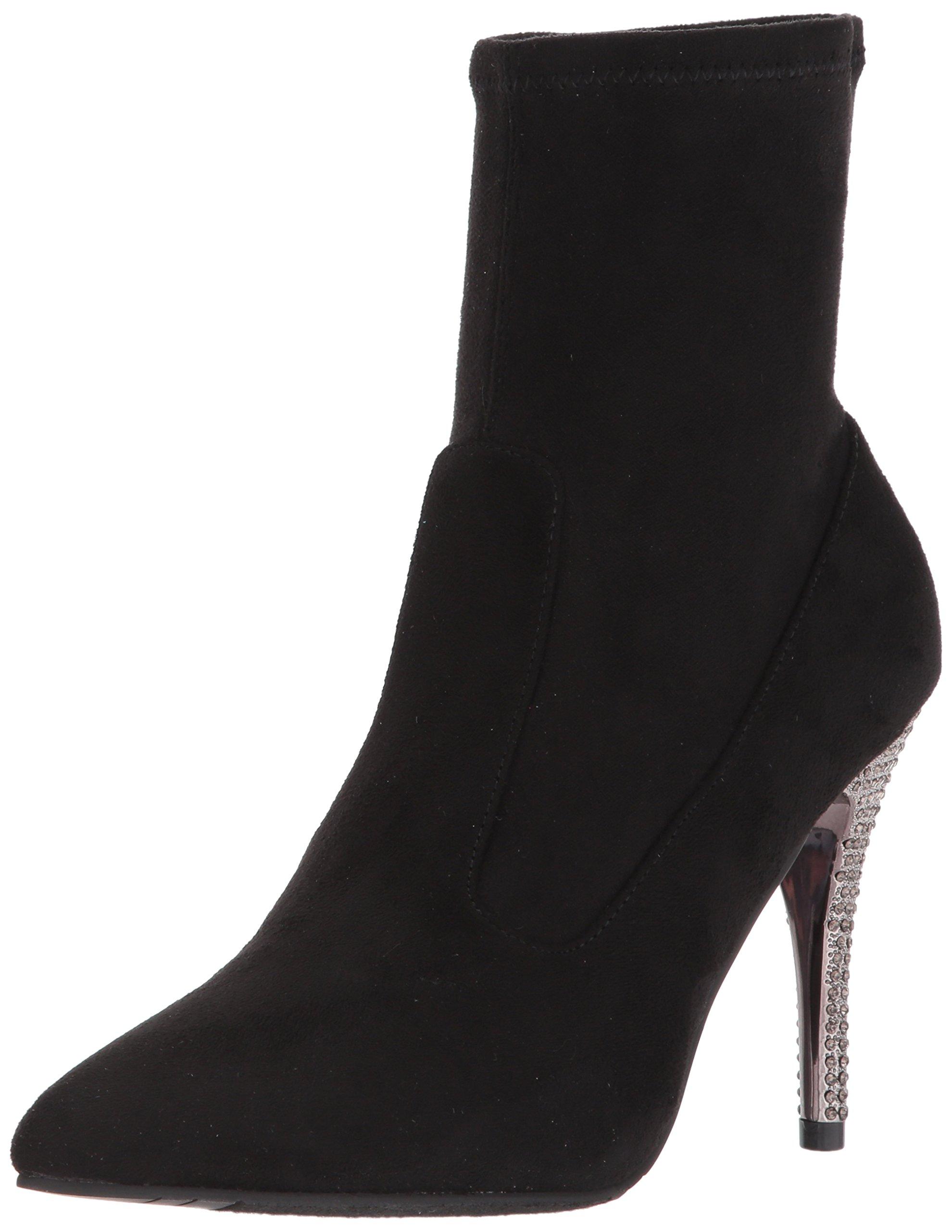 Nina Women's Roxie Ankle Bootie, Suede-True Black, 5 M US