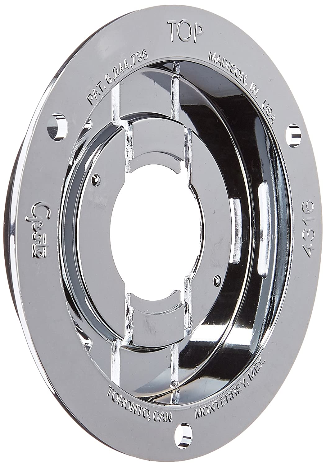 Grote 43163 Chrome Theft-Resistant Mounting Flange & Pigtail Retention Cap (For 2 1/2' Round Lights)
